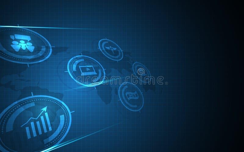 Fond innovateur de concept de communication d'affaires globales abstraites de technologie illustration de vecteur