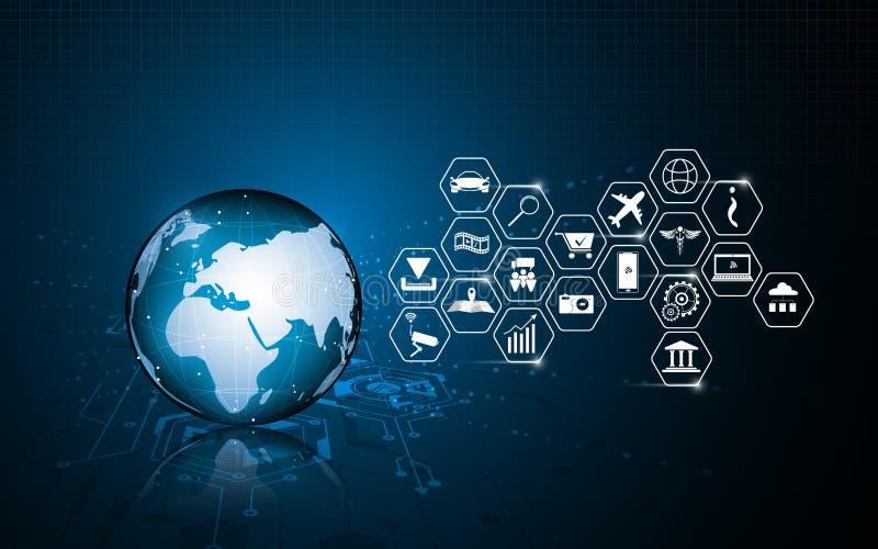 Fond innovateur de concept de future technologie globale abstraite illustration libre de droits