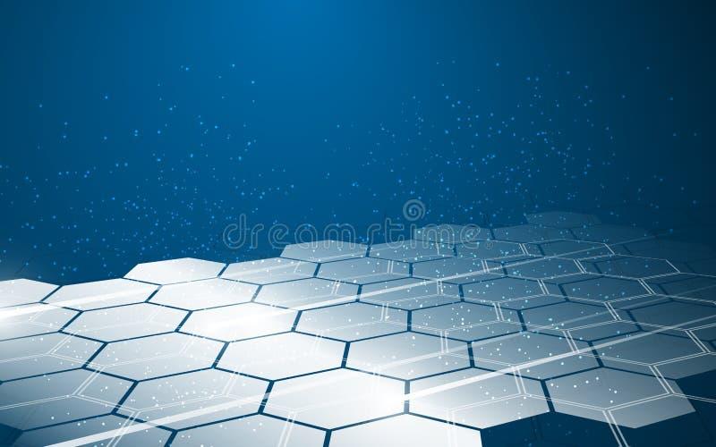 Fond innovateur de conception de l'avant-projet d'hexagone de modèle de technologie abstraite de mouvement illustration libre de droits