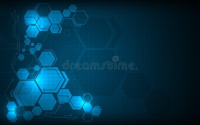 Fond innovateur de pointe de conception de l'avant-projet de modèle d'hexagone illustration stock