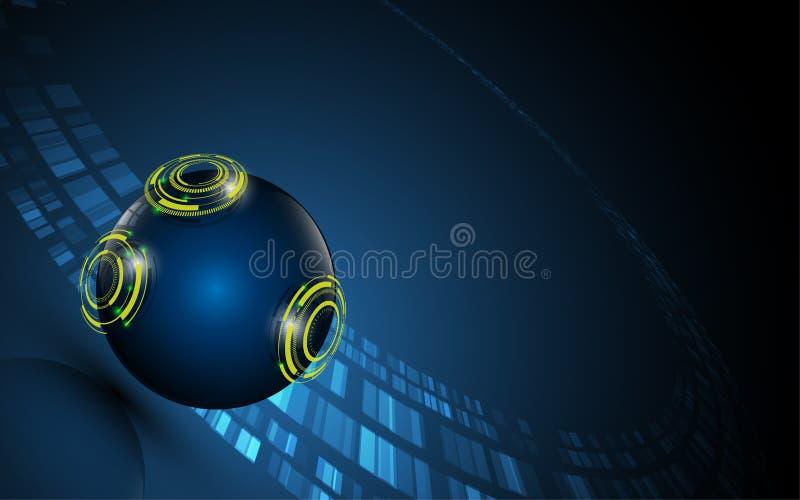 Fond innovateur numérique de concept de sphère abstraite de technologie illustration de vecteur