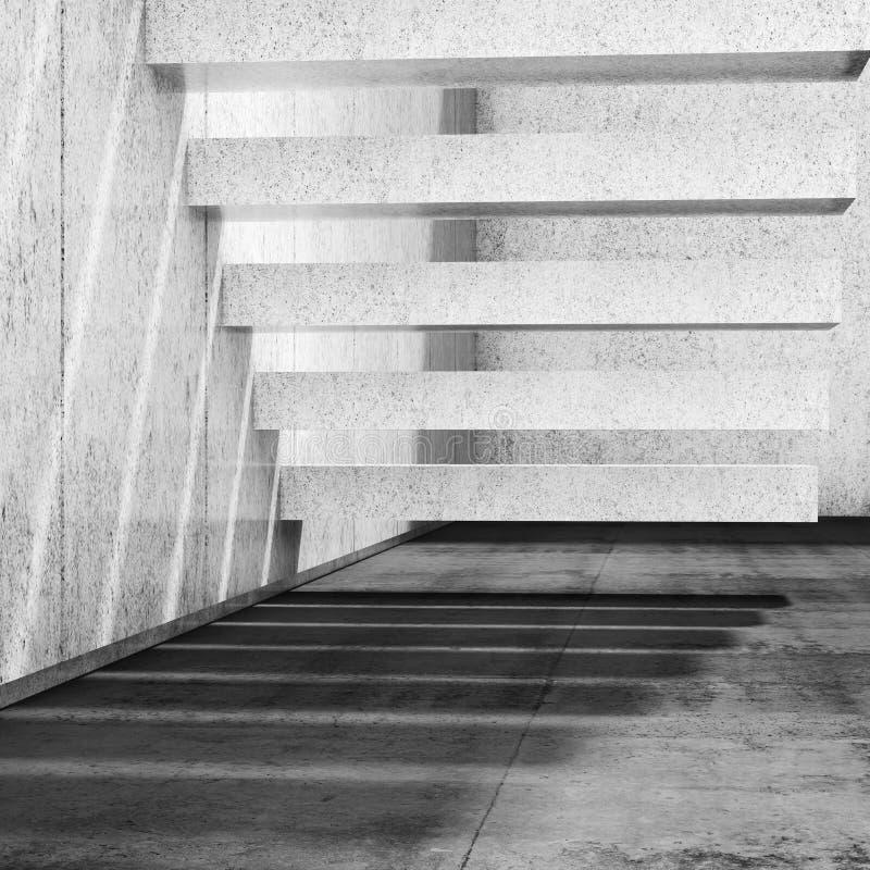 Fond intérieur avec les escaliers concrets sur le mur 3d illustration de vecteur