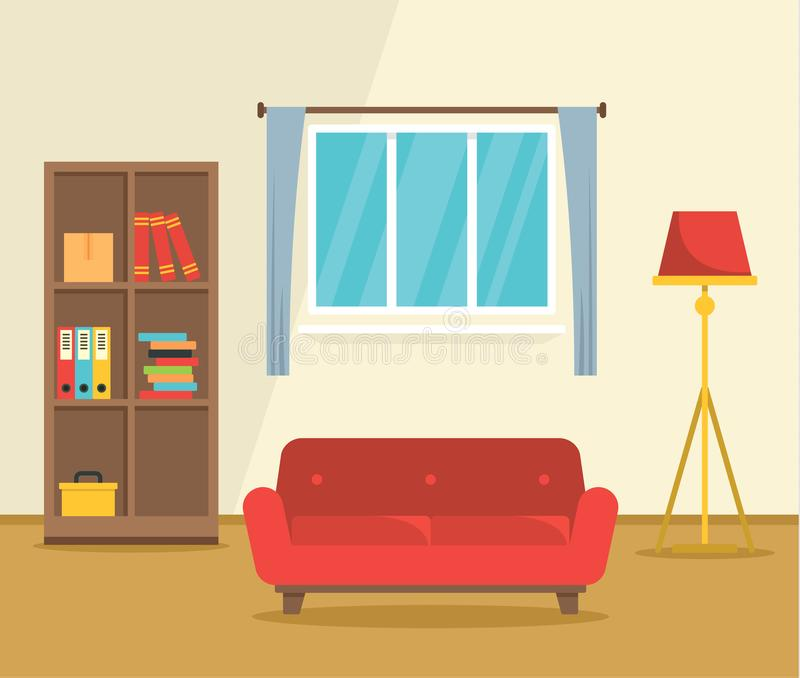 Fond intérieur de concept de sofa rouge, style plat illustration stock