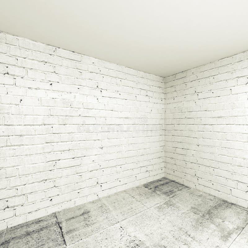 Fond intérieur de la pièce 3d vide, coin avec les murs de briques blancs illustration de vecteur