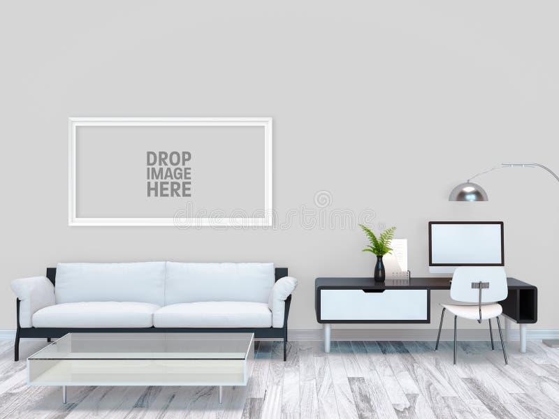 Fond intérieur de pièce blanche illustration stock