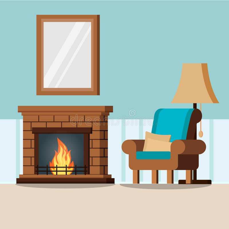 Fond intérieur de salon à la maison confortable avec la cheminée, lampe, fauteuil, oreillers, miroir dans le style plat de bande  illustration de vecteur