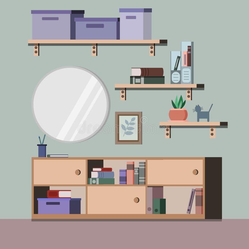 Fond intérieur de salon avec le support, miroir, usine, livres, dossiers, image dans le style plat illustration de vecteur