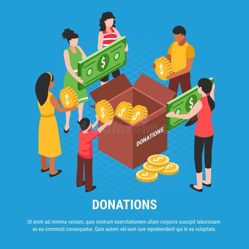 Fond isométrique de donation illustration stock
