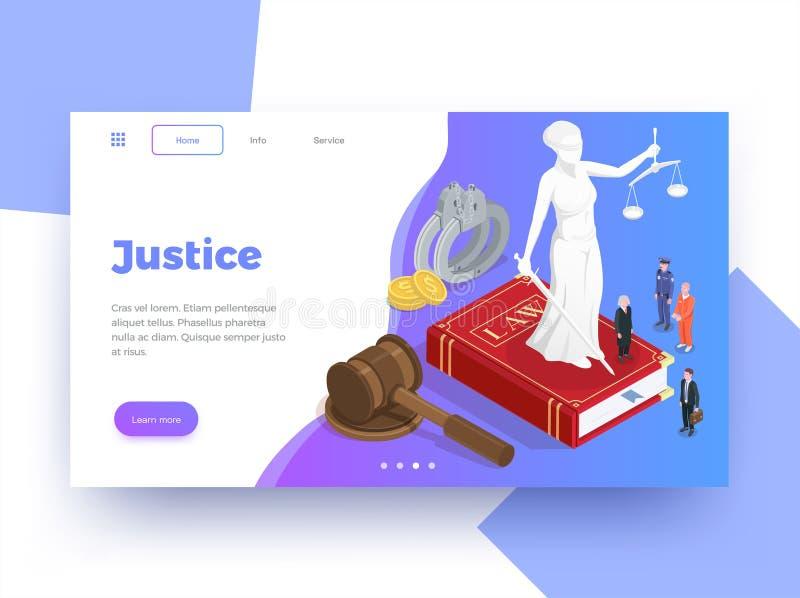 Fond isométrique de page Web de justice illustration libre de droits