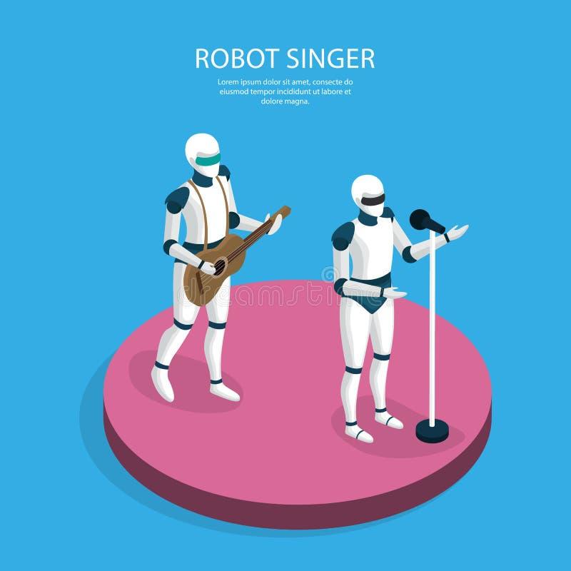 Fond isométrique de robots créatifs illustration de vecteur