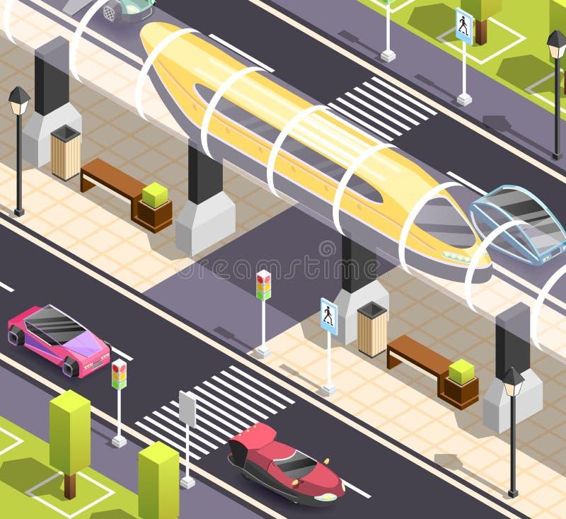 Fond isométrique de transport futuriste illustration de vecteur