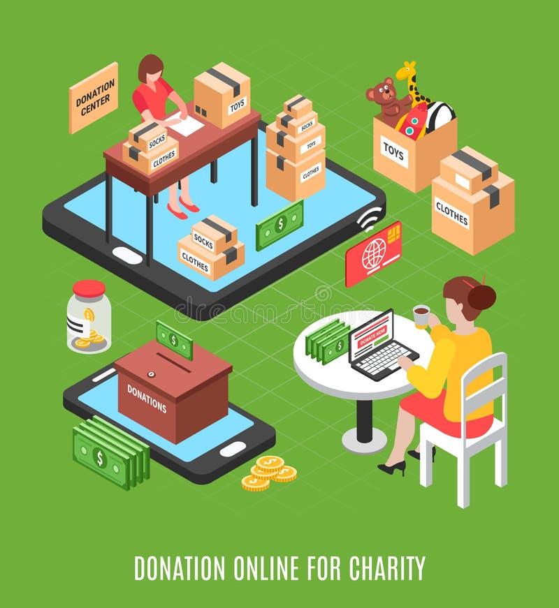 Fond isométrique en ligne de donation illustration libre de droits