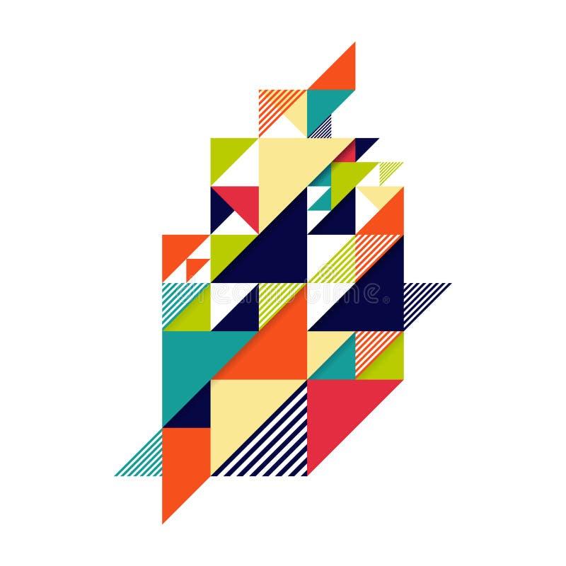Fond isométrique géométrique coloré abstrait de forme illustration libre de droits