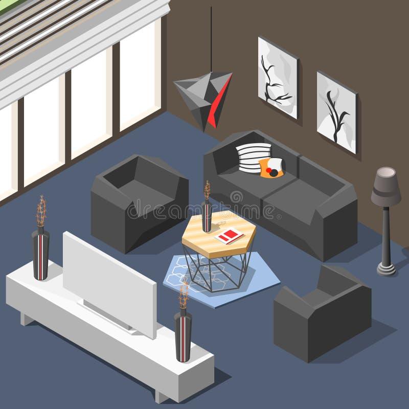Fond isométrique intérieur de salon futuriste illustration stock
