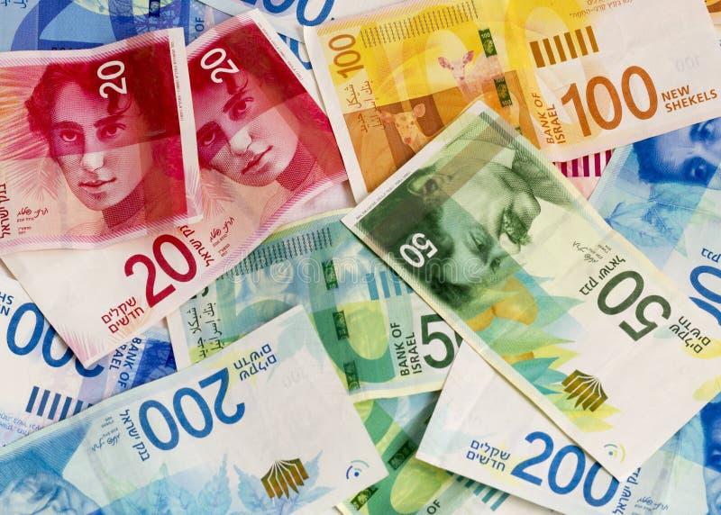 Fond israélien de billets de banque de shekel Configuration plate image stock