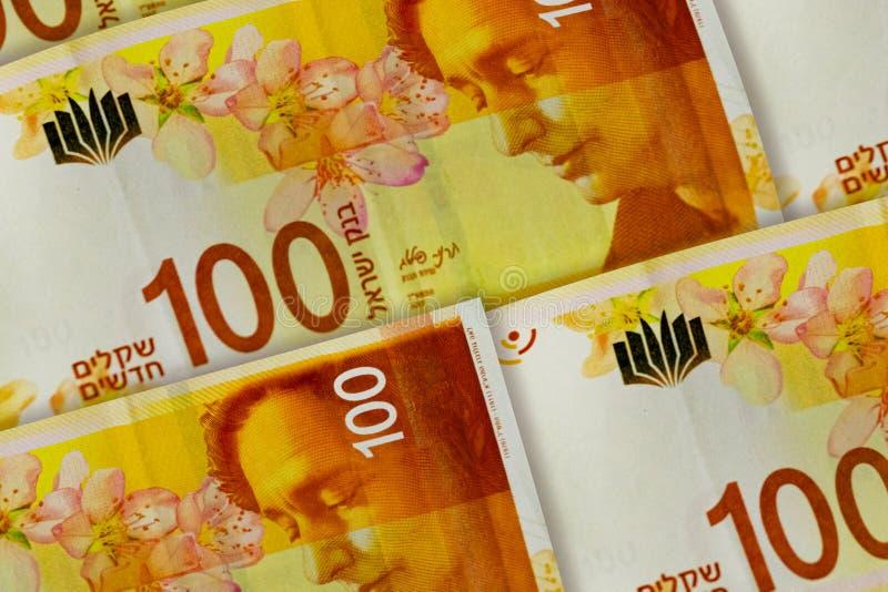 Fond israélien de shekels modèle de 100 shekels photographie stock libre de droits