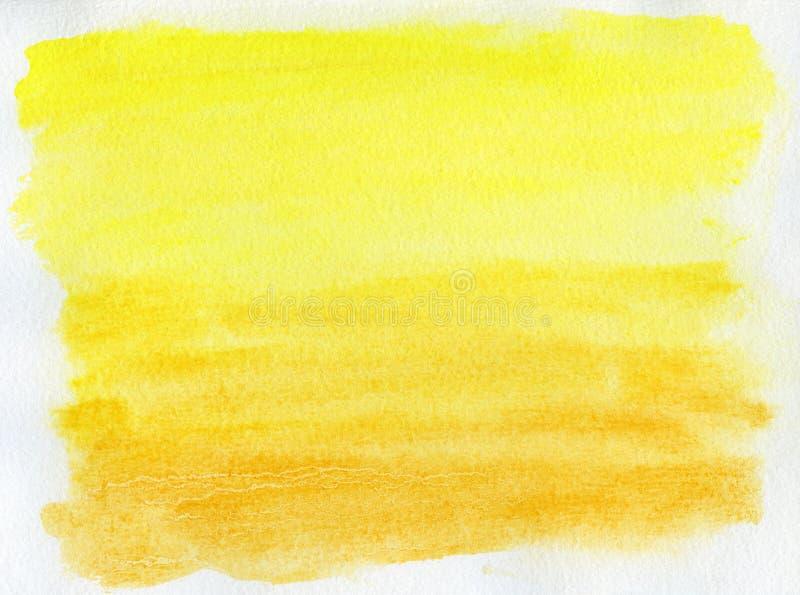 Fond jaune abstrait d'aquarelle image stock