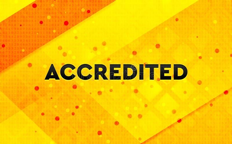 Fond jaune accrédité de bannière numérique abstraite illustration libre de droits