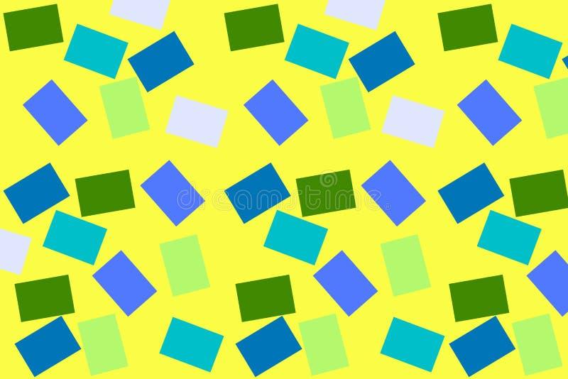 Fond jaune avec les places colorées Fond avec de petits rectangles Cubes multicolores Le gradient a coloré des places illustration stock