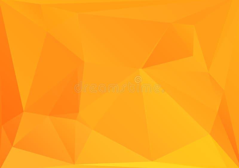 Fond jaune chaud géométrique abstrait des polygones triangulaires Modèle à la mode lumineux de rétro triangle de mosaïque pour le illustration stock