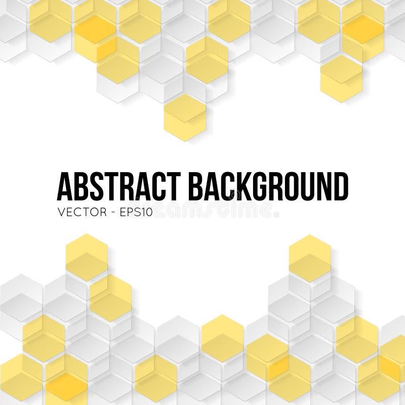 Fond jaune d'abrégé sur forme d'hexagone illustration libre de droits