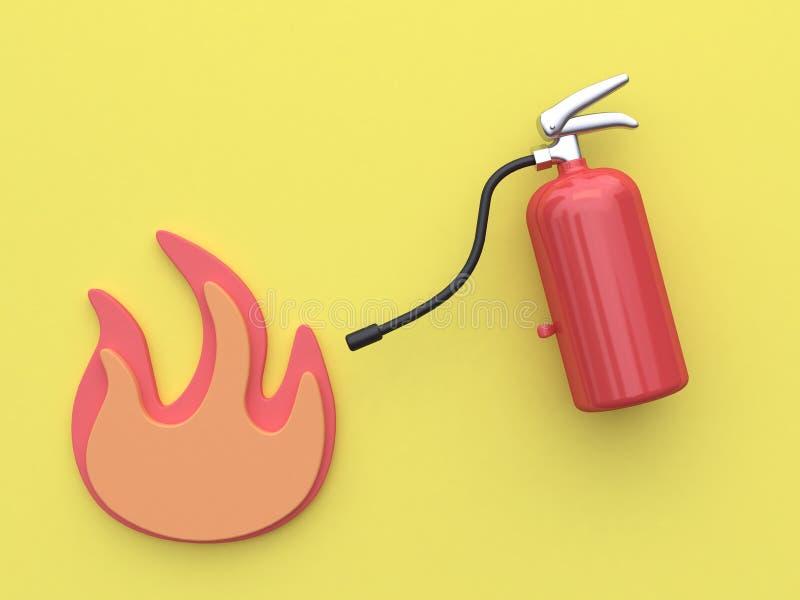 Fond jaune 3d rendant l'extincteur et l'icône abstraite de flamme illustration libre de droits
