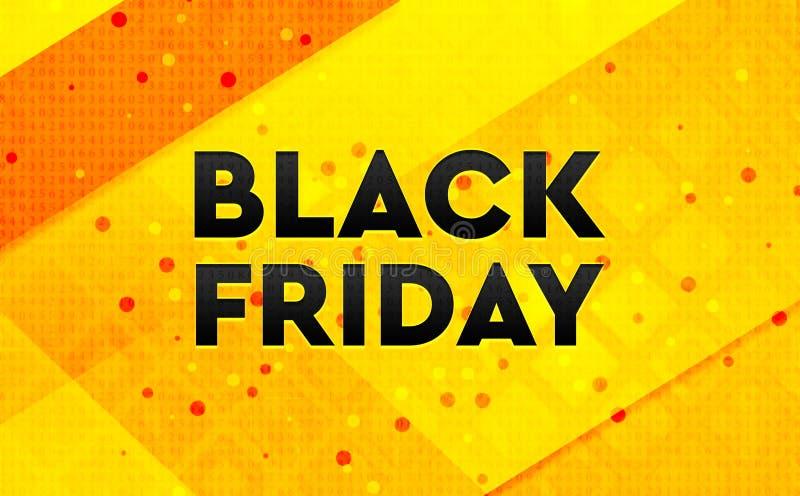 Fond jaune de bannière numérique abstraite de Black Friday illustration de vecteur