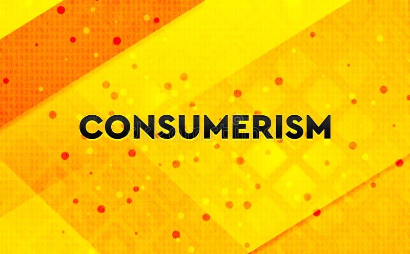 Fond jaune de bannière numérique abstraite de consommationisme illustration de vecteur