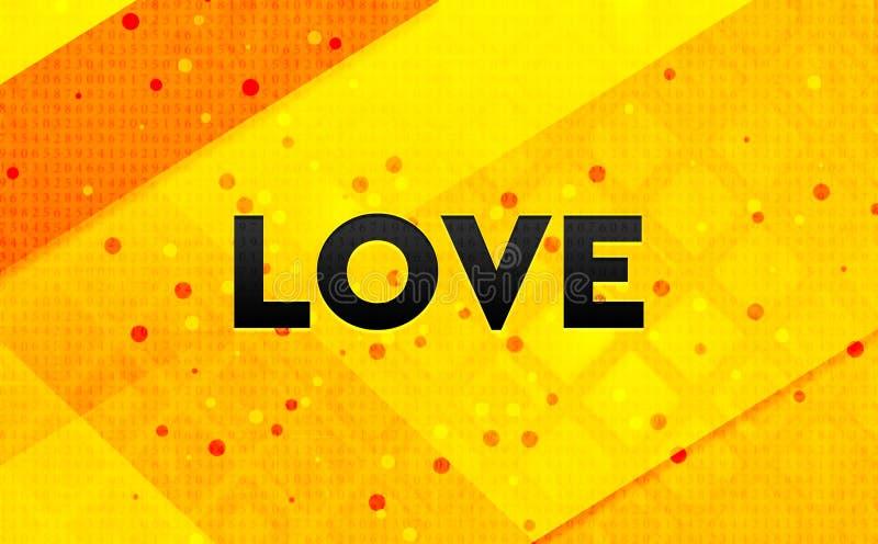 Fond jaune de bannière numérique abstraite d'amour illustration de vecteur