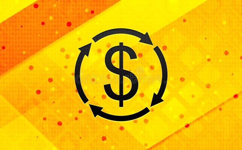 Fond jaune de bannière numérique d'abrégé sur icône de symbole dollar d'échange d'argent illustration stock