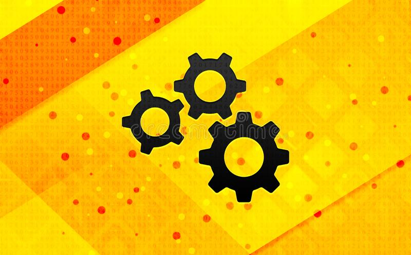 Fond jaune de bannière numérique d'abrégé sur icône de vitesses d'arrangements illustration libre de droits