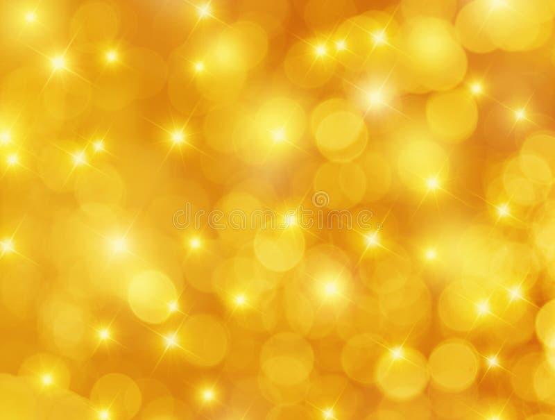 Fond jaune de Bokeh et d'étoiles illustration stock