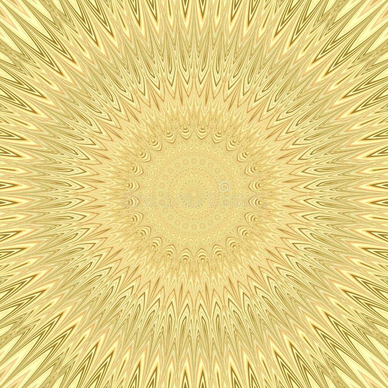 Fond jaune de fractale d'explosion du soleil de mandala - conception circulaire de modèle de vecteur des étoiles incurvées illustration libre de droits