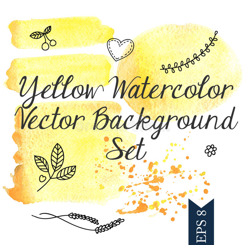 Fond jaune de vecteur d'aquarelle illustration stock