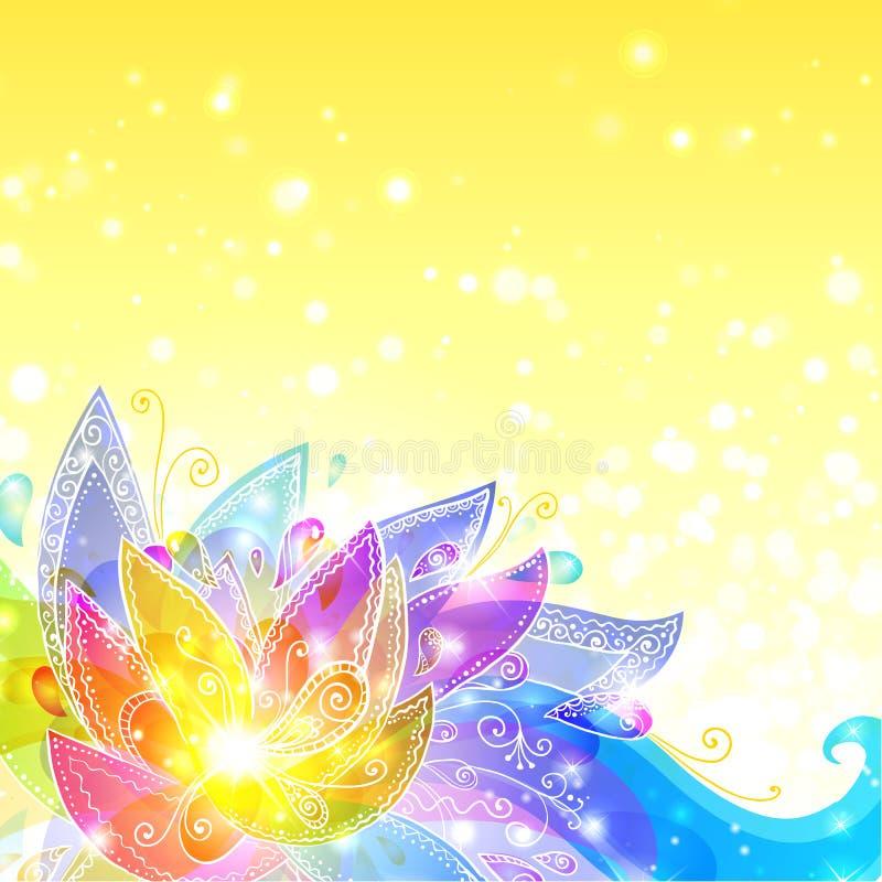 Fond jaune de vecteur de fleurs brillantes illustration libre de droits