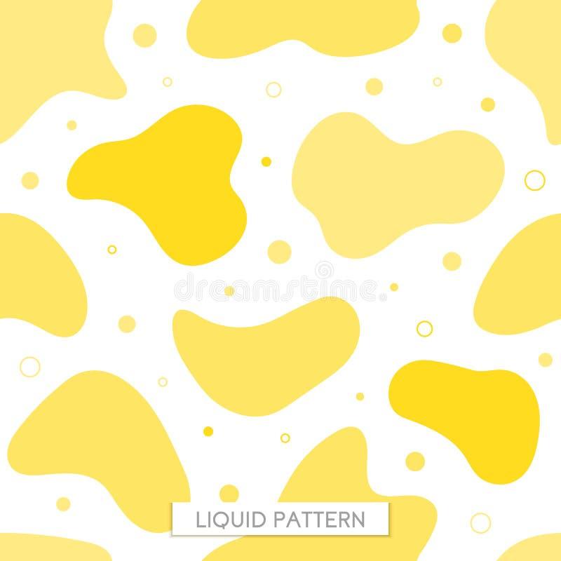 Fond jaune liquide de modèle sans couture de vecteur Graphiques pour des hippies liquide organique élégant de cadre dynamique géo illustration stock