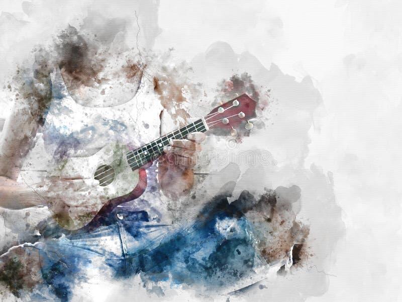 Fond jouant abstrait de peinture d'aquarelle de guitare acoustique illustration stock