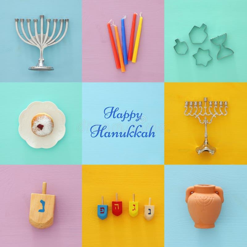 Fond juif de collage de Hanoucca de vacances avec le dessus traditionnel de spinnig, les candélabres de menorah, le beignet et le images stock