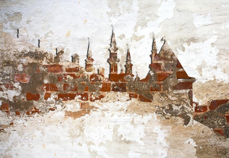 Fond Kazan Kremlin de Brickwall photographie stock