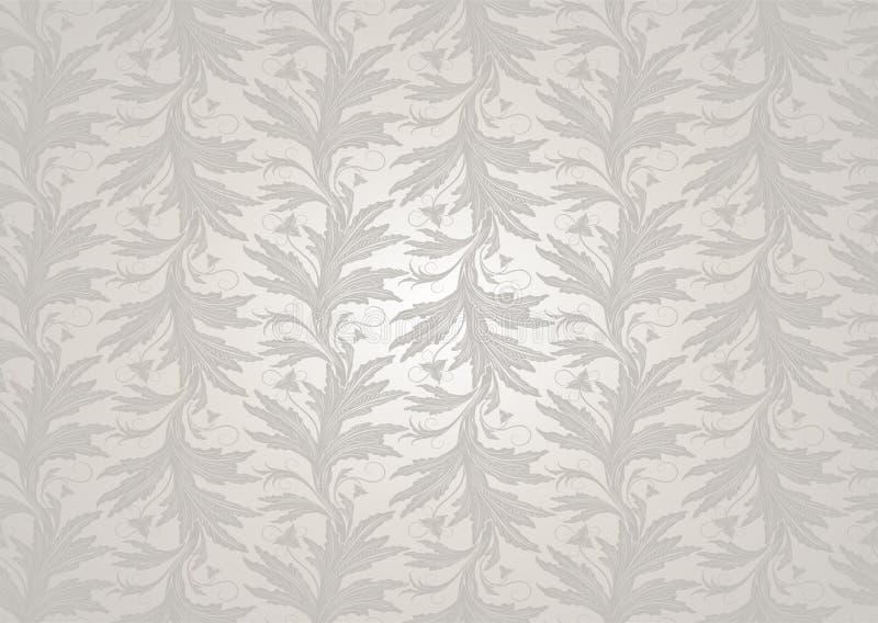 Fond l'?pousant blanc avec un ?clat de perle, royal, cru avec le mod?le baroque floral classique illustration de vecteur