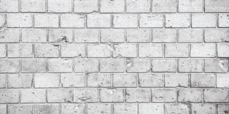 Fond large blanc gris sale simple de bannière de panorama de texture de surface de modèle de mur de briques photos stock