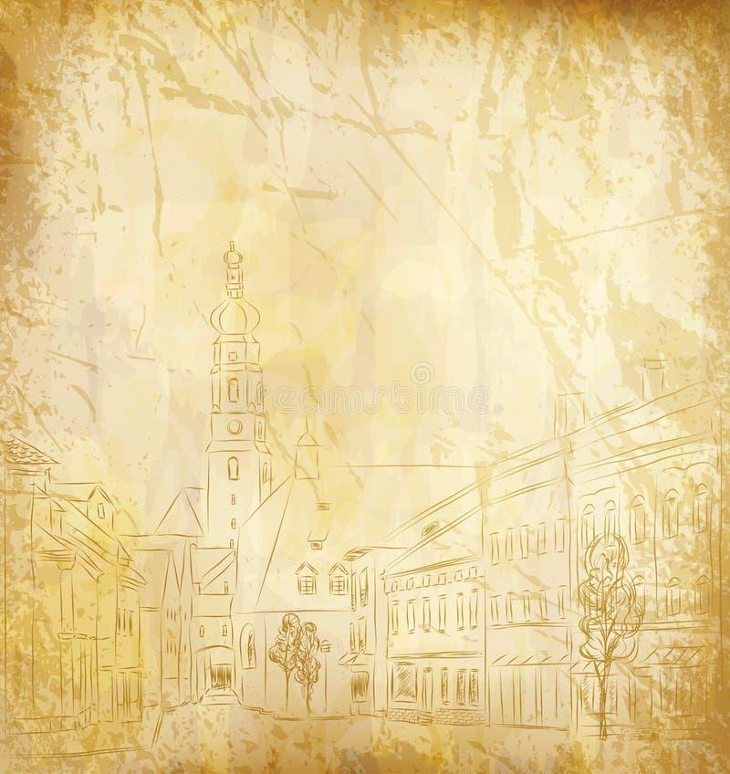 Fond (le vieux papier avec une vieille ville peinte) illustration stock