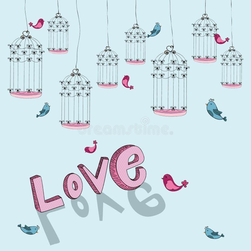 Fond libre d'amour d'oiseau de Valentine illustration libre de droits