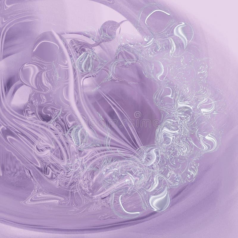 Fond lilas avec une fleur en verre d'imagination illustration stock
