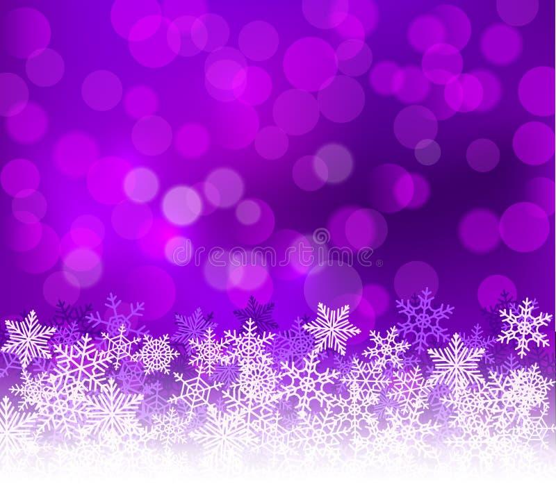 Fond lilas de Noël de bokeh d'hiver avec des flocons de neige Décoration de vacances de bokeh de Noël pour la carte de voeux illustration de vecteur