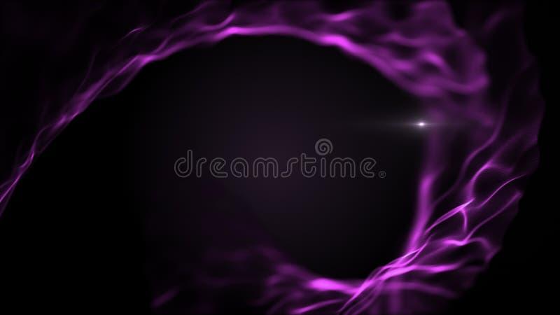 Fond liquide abstrait de mouvement giratoire Violette lumineuse, formes pourpres sur le contexte noir Le blick blanc brouillé par illustration de vecteur