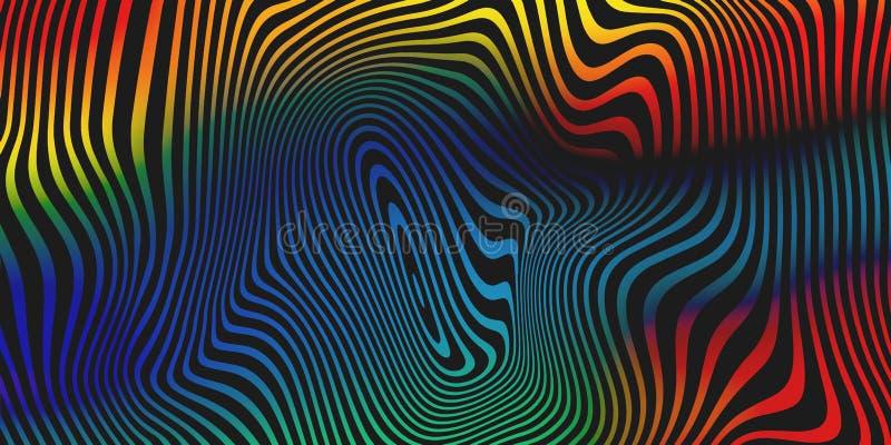 Fond liquide d'abrégé sur vecteur de mélange de couleur Fond liquide iridescent olographe de modèle de rayures de couleurs illustration stock