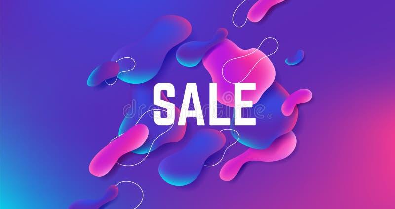 Fond liquide de vente Conception abstraite de forme de gradient, graphique liquide dynamique moderne, affiche à la mode géométriq illustration libre de droits