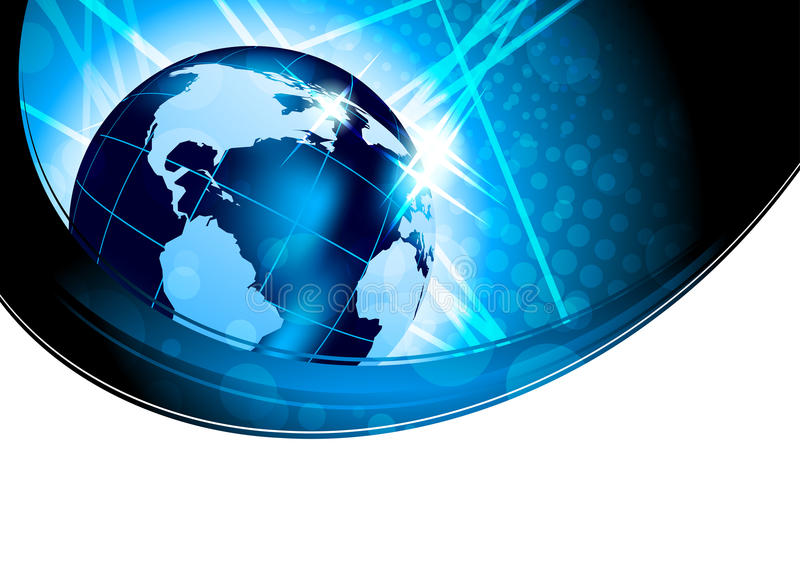 Fond lumineux avec le globe illustration stock