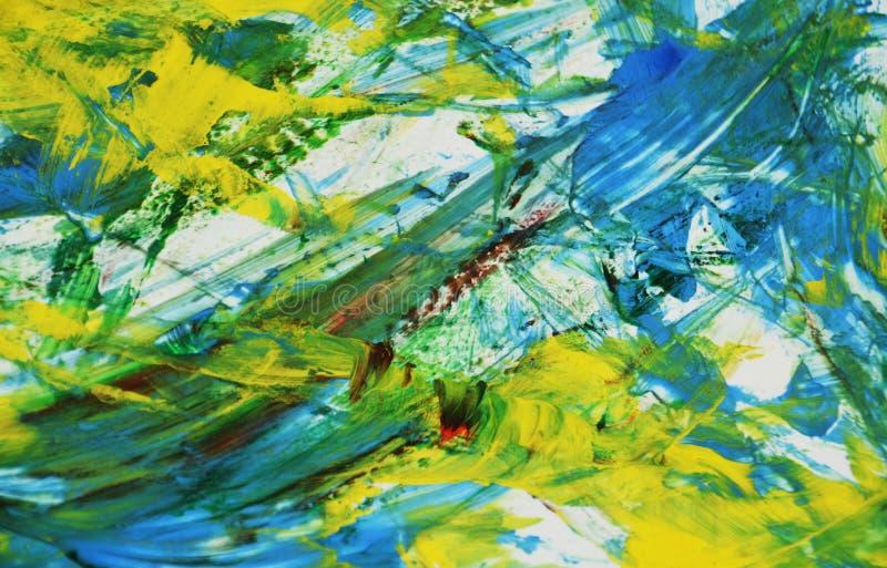 Fond lumineux bleu argenté jaune d'aquarelle de peinture de tache floue de mélange, fond de peinture abstrait d'aquarelle illustration libre de droits
